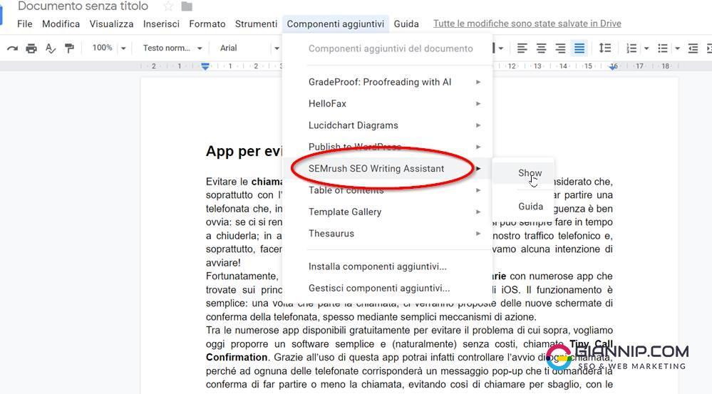 Semrush Seo Writing assistant Documenti Google
